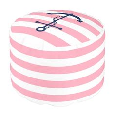 Blue Anchor on Pink and White Nautical Stripes Round Pouf. Perfect for a nautical themed girl nursery. Artwork designed by heartlocked.