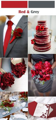 red and grey winter wedding color inspiration