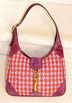 Coach Leather Suede & Wool Blend Houndstooth Hobo Bag 8F46 GUC / VGUC ( Orig. 398.00 ) by moodsoflife. Explore more products on http://moodsoflife.etsy.com