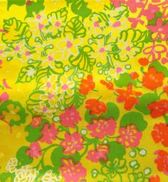 1960's-1970's Vintage Key West Hand Print Fabrics, Inc. yellow pink orange floral fabric squares by LuLuBunnyHome on Etsy