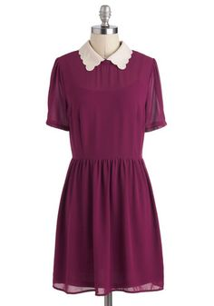 Precious Please Dress, #ModCloth  Simple but beautiful dress that would go lovely with a belt and cardi. Lovely color, lovely collar! Too cute!