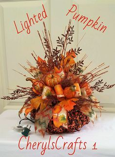 Fall Centerpiece,Lighted(clear lights) Glitzy Sequined Grapevine Pumpkin Tablepiece,Autumn Table Decor,Thanksgiving Centerpiece by CherylsCrafts1 on Etsy