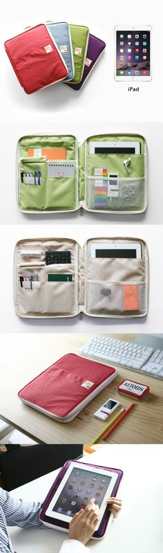 Your iPad just got a little happier! This iPad pouch is perfect for storing everything you need to get work done. 9 total pockets and pouches hold everything securely, keeping it all organized. A special pocket for your iPad is padded to protect against minor drops and scratches.