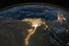 Nile River Delta at Night from the International Space Station