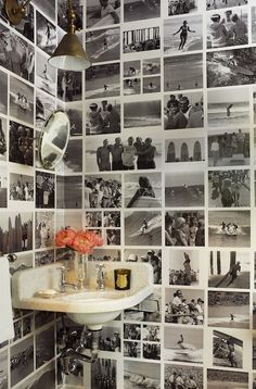 Powder Room with Corner Sink - Eclectic - Bathroom - John Hummel Memory Wand, Black And White Photo Wall, Eclectic Bathroom, Deco Boheme, Wall Decor, Room Decor, Photo Wall Collage, Picture Collages, My New Room