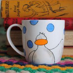 Duck Mug Hand Painted English Bone China Oh I do by scattyartist, $24.00