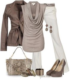 Love this outfit and the color palette.  Would probably wear with a lower heel, or boots.
