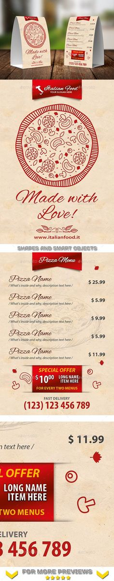 Italian Restaurant Menu Table Tent Template #design Download: http://graphicriver.net/item/italian-restaurant-menu-table-tent-template-20/12143463?ref=ksioks