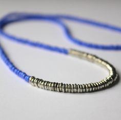 Layered Seed Bead Necklace, Layering Necklaces, Seed Beads, Blue Necklace, Silver Necklace