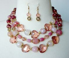 Gemstone Statement Necklace Chunky Doublestrand by laiseoriginals, $150.00