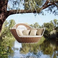 43 Best Ideas For Outdoor Hanging Beds - LuvlyDecor Outdoor Hanging Bed, Hanging Beds, Outdoor Decor, Hanging Chairs, Furniture Market, Rattan Furniture, Quality Furniture, Table D'angle, Bali