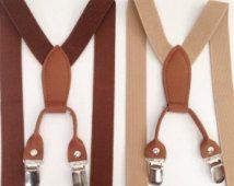 Boys Suspenders & Bowtie Brown Toddler Suspenders Bow tie Set Brown Mens Suspender Baby Boy Suspender Set Tan Suspenders First double up sus