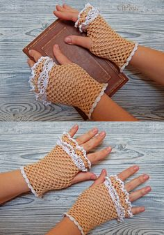 Wedding fingerless gloves Crochet mitts Cotton by OnGoodLuck