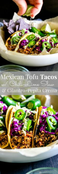 A tofu game changer - you're going to love these tacos and that crema is over the top!! Make ahead, freezer friendly | Vegan + Optionally GF