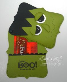 cute Halloween treat holder by Dawn at Dawns Stamping Studio (you will find a multitude of awesome videos here)