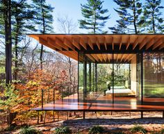 Amazing fit between house and forest. Love the roof too..new canaan residence/kengo kuma