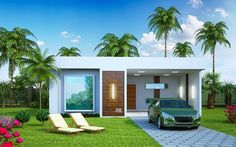 Model House Plan, Dream House Plans, Home Building Design, Home Design Plans, Small House Design, Modern House Design, Two Bedroom House, Small Modern Home, Story House