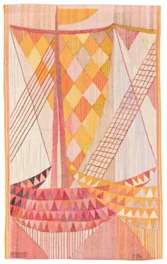 Märta Måås-Fjetterström and Marianne Richter, Båtar tapestry, for logan Art Textile, Textile Artists, Textile Design, Textiles, Coat Of Many Colors, Tapestry Weaving, Embroidery Thread, Abstract Pattern, Textures Patterns