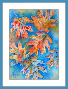 Autumn Leaves Watercolor by MarthaKislingArt