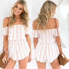 The romper is featuring color block striped print, off the shoulder design, drawstring waist, short sleeve and loose fit design. Off Shoulder Romper, Off The Shoulder, Vintage Colors, Playsuits, Stripe Print, Drawstring Waist, Vintage Ladies, Jumpsuit, Rompers