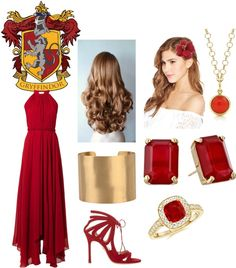 Angara Jewelry Сет yule ball – gryffindor пользователя mmann-wolf с diamond jewelry ❤️ liked Harry Potter Mode, Harry Potter Dress, Harry Potter Style, Harry Potter Outfits, Harry Potter Kleidung, Formal Casual, Yule Ball, Flower Hair Accessories, Leather Accessories