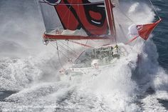 Kito de Pavant's Groupe Bel doing a little extreme sailing in 35 + knots in a Mistral off Port Camargue (South of France). Groupe Bel will enter the next Vendée Globe.