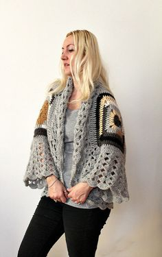 Afghan Crochet CardiganGray Mohair by LoveandKnit on Etsy