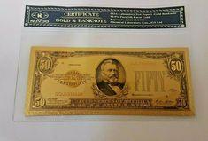 1928 50$ Fifty Dollar Bill Reserve Note Gold Clause Certificate Gold Foil >C999 Twenty Dollar Bill, Fort Knox, Gold Foil, Certificate, Planets, Notes, Personalized Items, Create, Ebay