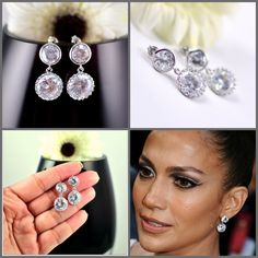 Bridal Earrings Cubic Zirconia Ear Post Earrings Diamond Look Sterling Silver Celebrity Inspired Jewelry Bridesmaid Gift Wedding Jewelry. $29.99, via Etsy.