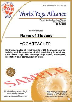Here is Professional Yoga Teacher Training program. This is a practical and theoretical yoga teacher training course designed to make you a confident and effective Yoga Teacher. Yoga World, Yoga Teacher Training Course, Unity In Diversity, Yoga School, Training Programs, Thailand, Workout Programs, Workout Plans