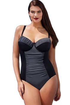 0e99585b14 Black Grey Color Block Ruched Plus One Piece Swimsuit