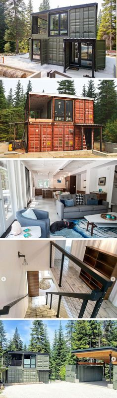 CASCADIA CONTAINER RESIDENCE Today we are featuring another stunning container residence that is making its rounds on social media. Thankfully Brandon from One Way Construction gave. Building A Container Home, Container Buildings, Container Architecture, Architecture Design, Futuristic Architecture, Shipping Container Home Designs, Container House Design, Tiny House Design, Shipping Containers