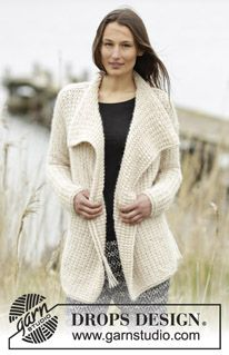 """Morning Walk - Knitted DROPS jacket with textured pattern and shawl collar in """"Cloud"""". Size: S - XXXL. - Free pattern by DROPS Design"""