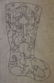 Pattern for a kid-friendly nativity stocking.