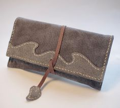 Leather Tobacco Pouch Color: Grey & Light Grey by TheRoadie