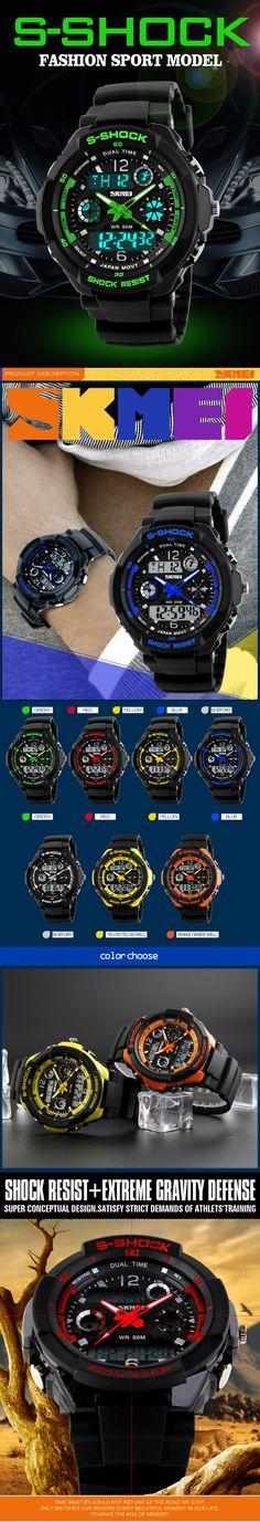 2016 Мужчин Кварцевые Цифровые Часы Мужчины Спортивные Часы Relógio Masculino SKMEI S Шок Relojes LED Военная Водонепроницаемый Наручные Часы купить на AliExpress