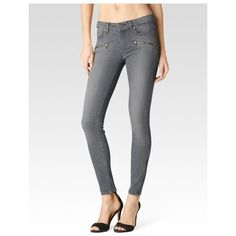 PAIGE Jane Zip  Silvie ($114) ❤ liked on Polyvore featuring jeans, denim, grey, pants, skinny fit denim jeans, long jeans, zipper skinny jeans, long skinny jeans and mid rise skinny jeans