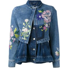 Alexander McQueen embroidered denim jacket (48.918.355 IDR) ❤ liked on Polyvore featuring outerwear, jackets, blue, embroidery jackets, peplum jacket, long sleeve jacket, peplum jean jacket and embroidered jean jacket