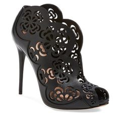 Women's Alexander McQueen Laser Cut Bootie (1,501 CAD) ❤ liked on Polyvore featuring shoes, boots, ankle booties, heels, sandals, обувь, ankle boots, heels stilettos, lace booties and heeled ankle boots