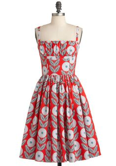 What a Dahlia Dress in Straps by Bernie Dexter - Orange, White, Party, Vintage Inspired, Sleeveless, Fit & Flare, Mid-length, Black, Floral, Cotton, Daytime Party