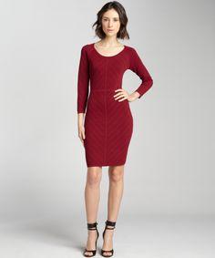Marc New York pinot noir stretchy pointelle knit three quarter sleeve dress