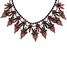 Elizabeth Cole Valentina Coral Matrix Necklace ❤ liked on Polyvore featuring jewelry, necklaces, elizabeth cole necklace, coral jewellery, elizabeth cole, coral necklace and coral jewelry