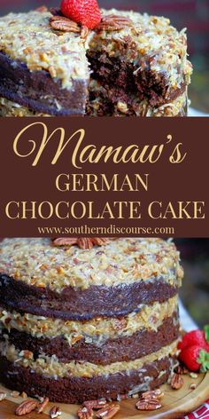 This deliciously moist traditional cake uses my Mamaws old fashioned frosting recipe to create the best frosting loaded with coconut and pecans. The post Mamaws German Chocolate Cake appeared first on Dessert Platinum. Holiday Desserts, Just Desserts, Delicious Desserts, Dessert Recipes, German Chocolate Frosting, Chocolate Cakes, Homemade German Chocolate Cake, Old Fashioned German Chocolate Cake Recipe, Non Chocolate Desserts