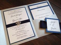 Winter Wedding Invitation Snowflake Pocket Navy by decadentdesigns, $6.00