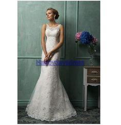 bateau sleeveless mermaid appliques covered buttons wedding dresses bridal dresses