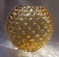Vintage Retro 1950s Borske Sklo Union Amber Round Optic Spikey Ball Vase Bohemia