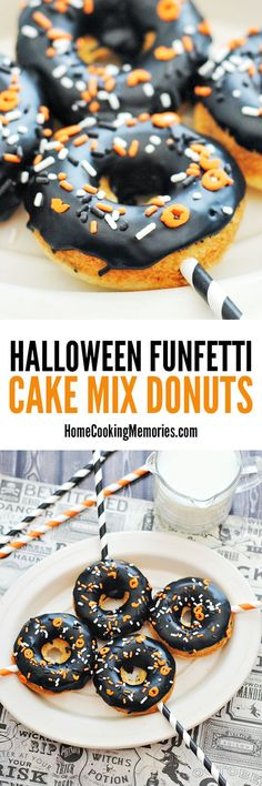These Halloween Funfetti Cake Mix Donuts are incredibly easy to make! Includes donut glaze recipe. Fun for Halloween parties, Halloween breakfast, or as a treat during a scary movie night.