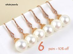 Bridesmaid Gift Set of 6 10% Off Wedding Favor Maid of Honor Gift Pearl Earrings Bridal Earrings Wedding Jewelry Set Rose Gold Earrings