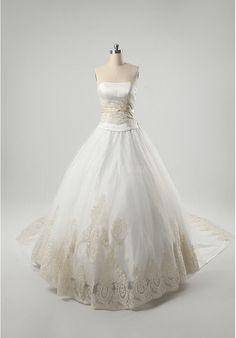 Organza Strapless Ball Gown Elegant Wedding Dress