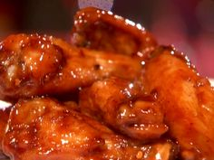 Red Hot Sticky Wings from FoodNetwork.com this is the best sporting event food ever i dont even need the resipe anymore